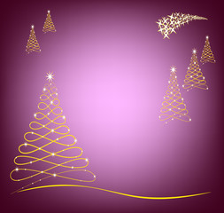 Christmas card in purple and gold