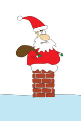 angry santa on roof stuck in chimney