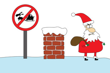 angry santa on roof
