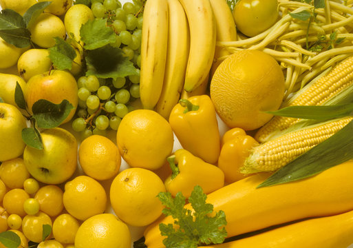 Display of yellow fruits and vegetables