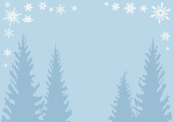 Christmas tree and snowflake poster background