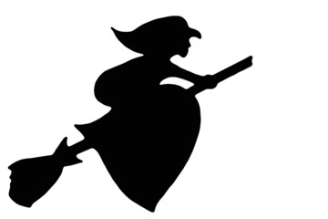 Witches flying on a broomstick
