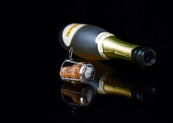 Closeup bottle, drop and cork
