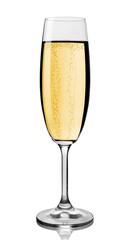 Champagne glass, white background.