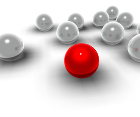 3d spheres and red spheres of different