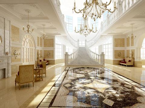 rendering living room of luxury suite
