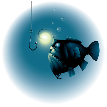 angry fish looks on the fish hook