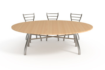 Table and three chairs, isolated on white with clipping path