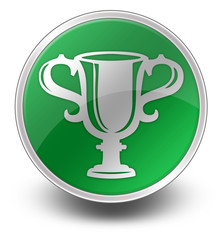 """Green Glossy Icon """"Award Cup"""""""