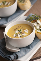 Butternut squash soup in a bowl