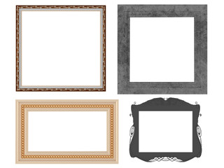 Set of decorated empty frames, isolated