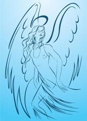 Beautiful woman angel in a light dress