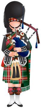 Scottish Bagpiper soldier in uniform