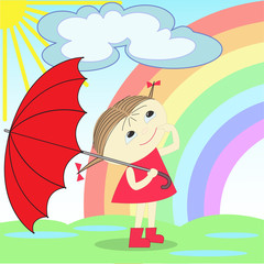 Spoed Foto op Canvas Regenboog girl under the rainbow