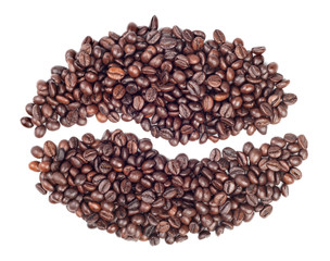 Coffee beans in a shape of single coffee bean isolated on white