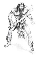 Wall Mural - Tattoo art, sketch of a  warrior