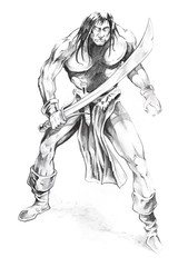 Fototapete - Tattoo art, sketch of a  warrior