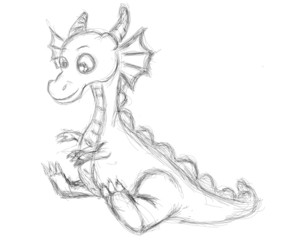 sketch of a cute dragon