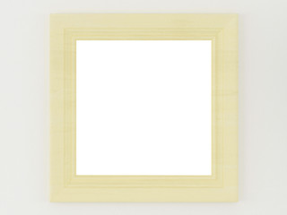 Simple wooden frame on a white wall