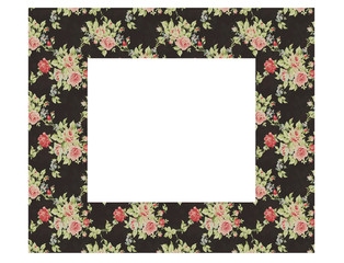 Floral vintage empty picture frame isolated