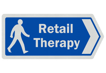 Photo realistic ' retail therapy' sign, isolated on white