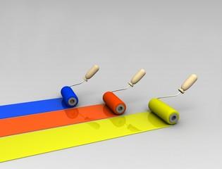 Paint roller and paint stripes. 3d illustration