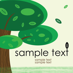 card design with stylized trees and text nature