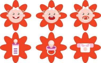 Flower Girls Icons Vector Set.eps