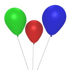 The RGB helium balloons - a 3d image