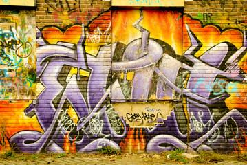 Multi colored graffiti wall