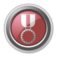 """Red 3D Style Button """"Award Medal"""""""