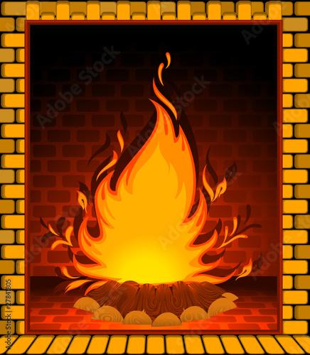 Рисованный огонь в камине
