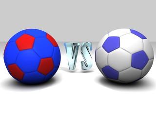 Balones de futbol derbi sobre fondo blanco