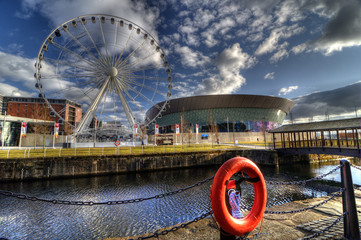 Echo Arena and Wheel, Liverpool, England.