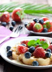 Waffel mit Erdbeeren
