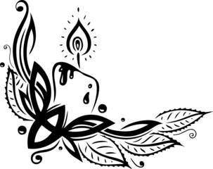 Weihnachten, Advent, Stechpalme, Kerze, vector