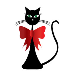 Black stylized cat vwith red ribbon