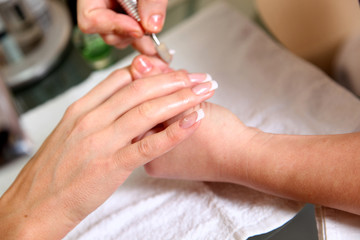 Manicure process Female hands