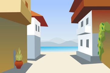 town and sea background