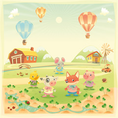 Baby farm animals in the countryside. Isolated vector objects.