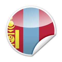 Pegatina bandera Mongolia con reborde