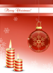 Christmas bauble and candles. Christmas card