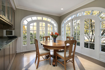 Eating area with circular windows
