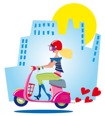 city girl driving scooter