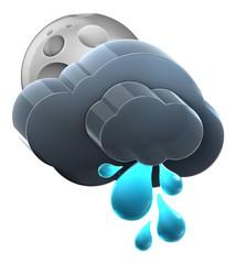 Moon and cloud with heavy rain.