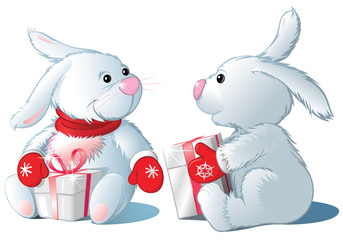 two rabbit with gifts, isolated