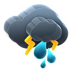 Cloud with thunder rain.