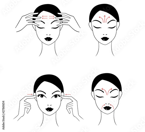 Set face massage instructions isolated on stock vector (royalty.