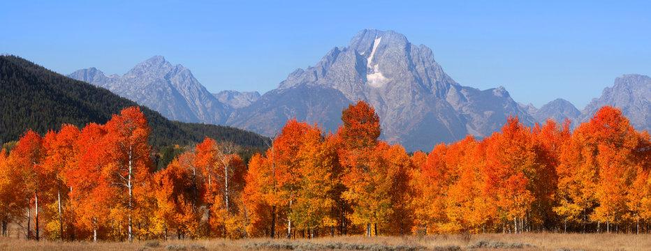 Grand Tetons national mountain range in Autumn time