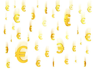 Falling gold euro symbols